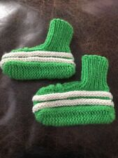 Vintage Hand Knitted Handmade Green/White Booties Socks Toddler 1970's (Jl)