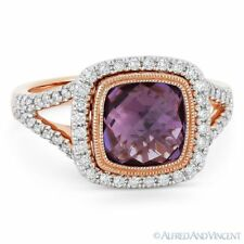 2.81ct Amethyst Gem & Diamond Pave Halo Right-Hand Ring in 14k Rose & White Gold