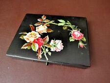 Antico Vittoriano Nero Scatola laccato con decorazione rose