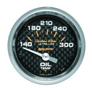 "Auto Meter 4748 2-1/16"" Carbon Fiber Electric Oil Temperature 140-300 °F NEW"