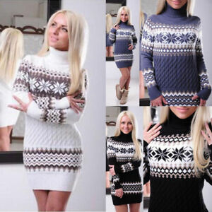 Womens Long Sleeve Sweater Dresses Skirt Winter Warm Print Long Turtleneck Tops