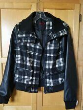 NEW YOKI New York Junior Jacket Coat Size L Black & White, Faux Leather Sleeves.