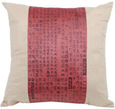 NEW Cushion Pillow Asian Writing Oriental Design Faux Suede Burgundy Sofa Home D