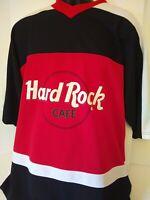 HARD ROCK CAFE Chicago Red White Black Mesh Jersey Large Bulls Blackhawks Hockey
