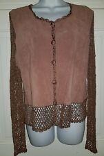 Kroshetta boho rose pink brown tan suede net crochet cardigan shirt top. M