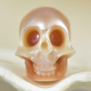 11.27 mm Human Skull Carving Mauve Freshwater Pearl 1.03 g vertically drilled