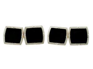 Antique Art Deco Black Onyx and 18k Yellow Gold, Platinum Set Cufflinks c.1920