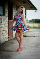 Colourful Psychedelic Skulls Floral Chequer Alternative Skater Dress Halloween