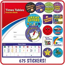 675 X Mixed KS2 School Reward Stickers + Free Maths Resources Book Place Values