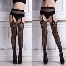 HOT Womens Sexy net Lace Top Garter Belt Thigh Lingerie Stocking Pantyhose Black