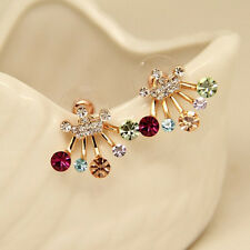 Delicate 1 Pair Women Elegant Colorful Rhinestone Bow Stud Earrings Jewelry Hot