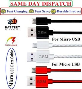 Fast USB Charger Cable Data Sync Charging Lead Micro For Samsung Huawei LG Sony