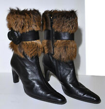 ** Charles Jourdan ** Brown Leather / Pony Hair Boots ** USA 9 / UK 7 **
