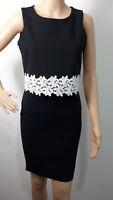 Ex QUIZ BLACK Bodycone Dress White lace trim Overlay  Size 8 - 16