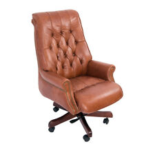 Vintage Drehsessel Designsessel Belford Bürosessel Mocha Leder Möbel Chefsessel