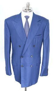 NWT STEFANO RICCI Blue Cashmere Silk Double Breasted Coat Jacket 48 L (EU 58)