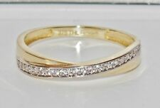 UK Hallmarked 9ct Yellow Gold 0.15ct Crossover Eternity Wedding Ring - size T