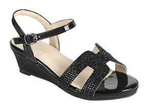 New girl's wedge buckle casual open toe summer formal dress shoes Black Glitter