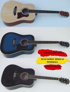 Guitarra Acústica Kobrat, Funda, Cursos, Accesorios 4/4 Negra, Colores