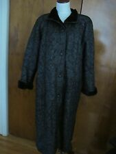Womens Black Sheep Fur Long Adarcrea Winter Coat Made Spain Size 38 USA 8
