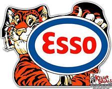 "12"" ESSO TIGER HOLDING SIGN GASOLINE OIL DECAL STICKER"