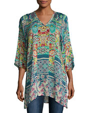 $240 NWT Johnny Was Anita 3/4-Sleeve Printed Tunic Blouse Long Top L XL