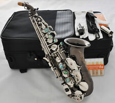 Prof Black Nickel Curved Soprano Saxophone sax Abalone Shell Silver Key +10xReed