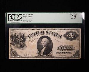1917 $1 One Dollar Legal Tender Fr.39 PCGS 20 VF - Free Shipping USA