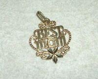 Vtg Solid 14K Yellow Gold 'Best Mom' Charm Pendant Diamond Cut .9 grams