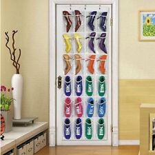24 Pockets Over Door Hanging Bag Box Shoe Rack Hanger Storage Tidy Organizer