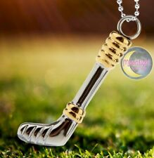 New Golf Club Putter Driver Silver Gold Urn Cremation Memorial Necklace