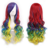 70CM Fashion Cosplay Long Hair Wig Heat Resistant Curly Straight Full Head Wigs