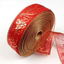 6*200cm Gold & Red Flower PVC Silk Christmas Ribbon Craft Tree Xmas Party Decor