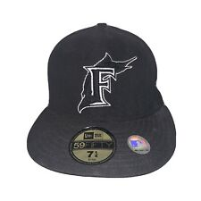 Size 7-1/4 BLACK FLORIDA MARLINS HAT vtg new-era 59Fifty men MADE IN USA Fitted