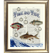 ART PRINT ON ANTIQUE DICTIONARY BOOK PAGE Vintage Bathroom FISH NAUTICAL SEA