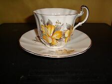 Royal Adderley Teacup & Saucer, Pattern #H1380, Yellow Flowers!