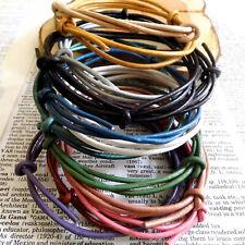 Men Women REAL Leather Cord Surf Wrap Wristband Bracelet anklet Choose Colour