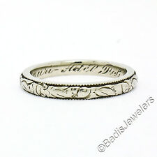 1922 Antique Art Deco 18k White Gold 2.60mm Floral Milgrain Band Ring Size 5.5