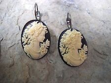 VICTORIAN WOMAN PORTRAIT CAMEO LEVER BACK FRENCH EARRINGS!! QUALITY!!! CHRISTMAS