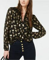 MICHAEL KORS metallic paisley blouse- Black/Gold- XS