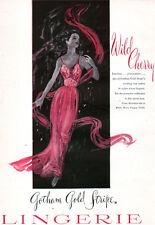 Wild Cherry Gotham Gold Stripe Lingerie Gown NYLON LACE Beautiful 1951 Print Ad