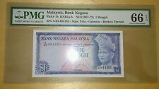 PMG 66 EPQ ISMAIL ALI RM1 1st Series Banknote GEM UNC Broken Security Thread