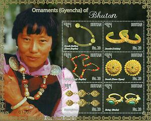 Bhutan 2015 MNH Ornaments Gyencha of Bhutan 6v M/S Brooch Necklace Bracelet