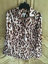 Chico's Animal Print Silky Blouse, Brown, Cream & Pink Size 1 or Medium
