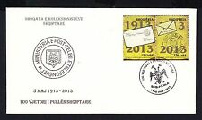 2013 Albania Albanian 100 Anniversary of  Stamps. By Philatelic Society. FDC