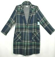 Susina Womens Navy Plaid Peacoat Long Plus Size One Button Front Business 1X