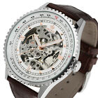 Mens-Watch-Mechanical-White-Dial-Stainless-Steel-Case-Skeleton-Analog-Luxury