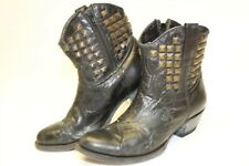 Game Day 1766 Womens 8 EE Studded Black Leather Cowboy Western Biker Boots