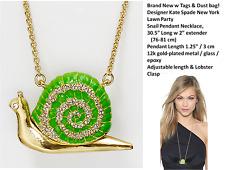 "NWT Kate Spade Lawn Party Snail Pendant Necklace 30.5"" Long"