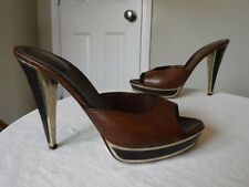 "BALLY ITALY BROWN LEATHER PEEPTOE PLATFORM 5"" HIGH HEELS SLIDES 39.5 9 MINT"
